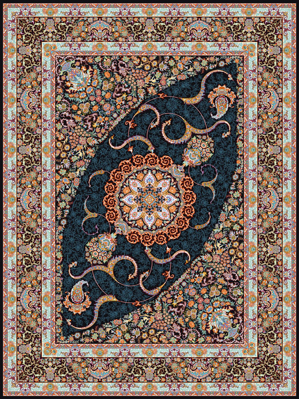 فرش ماشینی 700 شانه 8 رنگ طرح دپلیمات